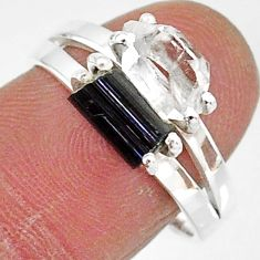 6.58cts natural herkimer diamond tourmaline raw 925 silver ring size 8 t6763