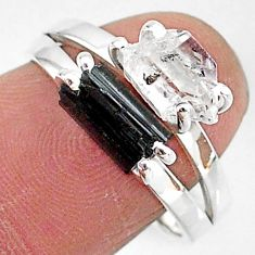 6.90cts natural herkimer diamond tourmaline raw 925 silver ring size 8 t6765