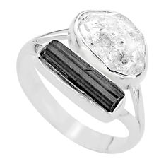 9.61cts natural herkimer diamond tourmaline raw 925 silver ring size 9 t49749