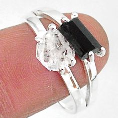 6.82cts natural herkimer diamond tourmaline raw 925 silver ring size 9 t6793