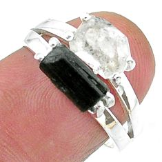 7.71cts natural herkimer diamond tourmaline raw silver ring size 7 t15333