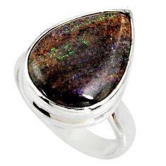 9.18cts natural honduran matrix opal 925 silver solitaire ring size 6.5 r34377