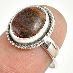 4.90cts natural honduran matrix opal 925 silver solitaire ring size 7.5 r76003