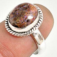 5.24cts natural honduran matrix opal 925 silver solitaire ring size 6.5 r76013