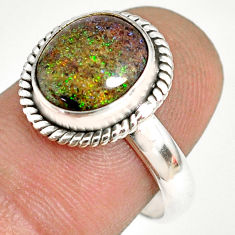 5.06cts natural honduran matrix opal 925 silver solitaire ring size 7.5 r76016