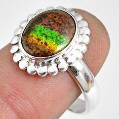 5.23cts natural honduran matrix opal 925 silver solitaire ring size 8.5 r76018
