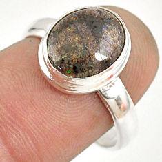 5.07cts natural honduran matrix opal 925 silver solitaire ring size 7.5 r76023