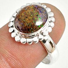 5.38cts natural honduran matrix opal 925 silver solitaire ring size 8.5 r76035