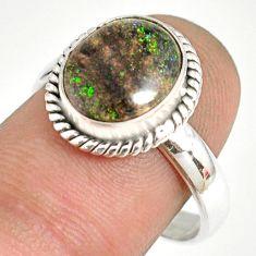 5.06cts natural honduran matrix opal 925 silver solitaire ring size 8.5 r76059