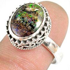5.07cts natural honduran matrix opal 925 silver solitaire ring size 7.5 r76065
