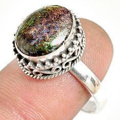 5.08cts natural honduran matrix opal 925 silver solitaire ring size 8.5 r76071