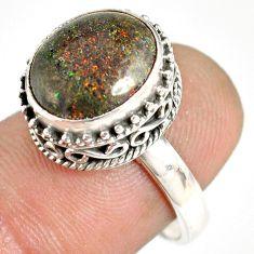 5.31cts natural honduran matrix opal 925 silver solitaire ring size 7.5 r76072