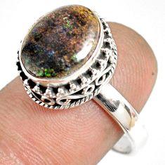 5.53cts natural honduran matrix opal 925 silver solitaire ring size 8.5 r76080