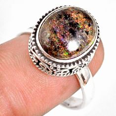 5.53cts natural honduran matrix opal 925 silver solitaire ring size 8.5 r76081