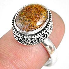 5.08cts natural honduran matrix opal 925 silver solitaire ring size 7.5 r76096