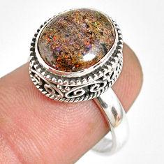 5.31cts natural honduran matrix opal 925 silver solitaire ring size 7.5 r76099