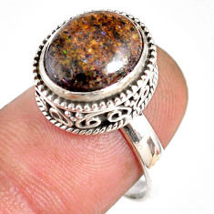 5.31cts natural honduran matrix opal 925 silver solitaire ring size 7.5 r76100