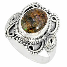 4.07cts natural honduran matrix opal 925 silver solitaire ring size 7.5 r77685