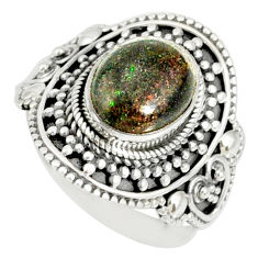 4.21cts natural honduran matrix opal 925 silver solitaire ring size 8.5 r77688
