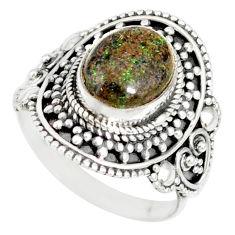 4.38cts natural honduran matrix opal 925 silver solitaire ring size 7.5 r77693