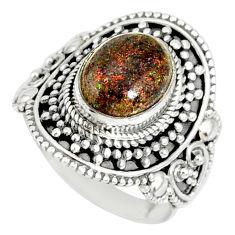 4.38cts natural honduran matrix opal 925 silver solitaire ring size 7.5 r77699