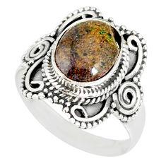 4.30cts natural honduran matrix opal 925 silver solitaire ring size 7.5 r77709