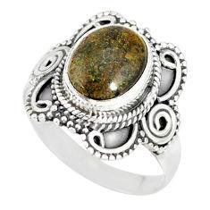 4.06cts natural honduran matrix opal 925 silver solitaire ring size 7.5 r77723