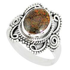 4.06cts natural honduran matrix opal 925 silver solitaire ring size 7.5 r77732