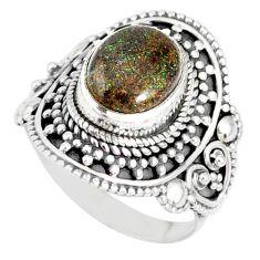 4.55cts natural honduran matrix opal 925 silver solitaire ring size 8.5 r77735