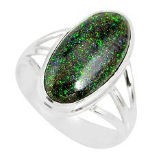 9.47cts natural honduran matrix opal 925 silver solitaire ring size 9.5 r80330