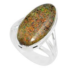 9.52cts natural honduran matrix opal 925 silver solitaire ring size 8.5 r80333