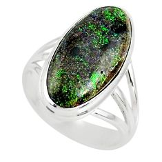 9.02cts natural honduran matrix opal 925 silver solitaire ring size 7.5 r80340