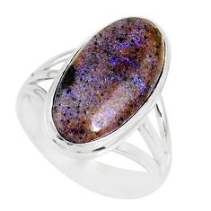 9.07cts natural honduran matrix opal 925 silver solitaire ring size 8.5 r80356