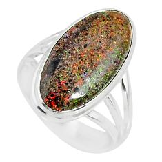 8.75cts natural honduran matrix opal 925 silver solitaire ring size 7.5 r80357