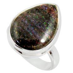 13.73cts natural honduran matrix opal 925 silver solitaire ring size 7 r34365