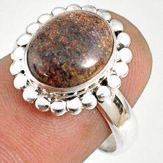 5.23cts natural honduran matrix opal 925 silver solitaire ring size 7 r76030