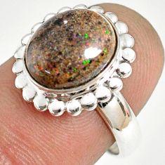5.11cts natural honduran matrix opal 925 silver solitaire ring size 7 r76032