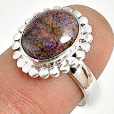 5.28cts natural honduran matrix opal 925 silver solitaire ring size 7 r76038