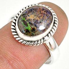4.71cts natural honduran matrix opal 925 silver solitaire ring size 7 r76054