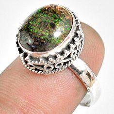 5.21cts natural honduran matrix opal 925 silver solitaire ring size 7 r76061