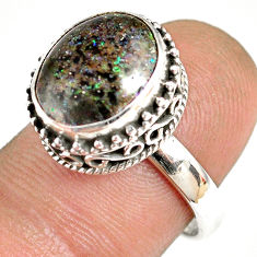 5.30cts natural honduran matrix opal 925 silver solitaire ring size 7 r76063
