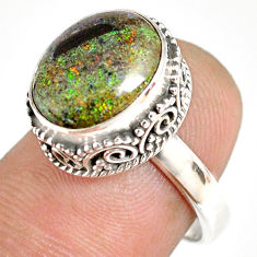 5.29cts natural honduran matrix opal 925 silver solitaire ring size 7 r76068