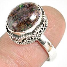 5.52cts natural honduran matrix opal 925 silver solitaire ring size 7 r76077