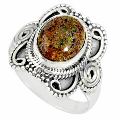 4.30cts natural honduran matrix opal 925 silver solitaire ring size 7 r77696