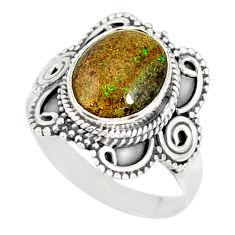 4.29cts natural honduran matrix opal 925 silver solitaire ring size 7 r77701
