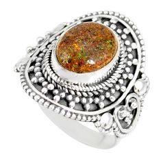 4.18cts natural honduran matrix opal 925 silver solitaire ring size 7 r77731