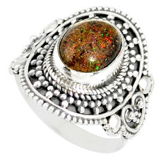 4.39cts natural honduran matrix opal 925 silver solitaire ring size 7 r77737
