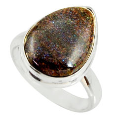 9.61cts natural honduran matrix opal 925 silver solitaire ring size 8 r34351