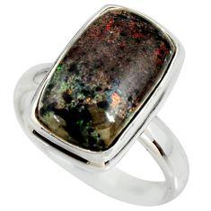 6.84cts natural honduran matrix opal 925 silver solitaire ring size 8 r34353