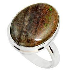 13.67cts natural honduran matrix opal 925 silver solitaire ring size 8 r34367